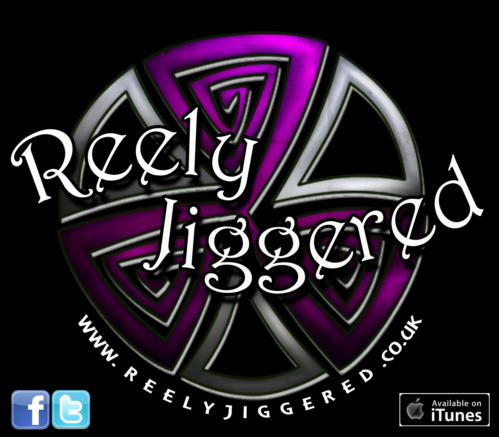 Reely Jiggered - logo with fb twitter itunes