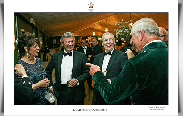 Melanie Andrews meets His Royal Highness Prince of Wales at a dinner at Dumfries House September 2015.